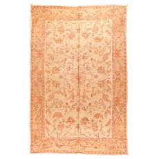Antique Peach Turkish Oushak Area Rug Wool Circa 1890, SIZE: 9'5'' x 15'9''