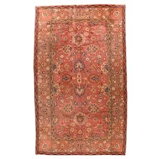 Excellent Light Brown Fine European Wave Area Rug Wool Circa 1900, SIZE: 8'11'' x 15'6''