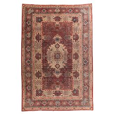 Antique Green Fine Indian Agra Area Rug Circa 1890 SIZE: 8'4'' x 11'9''