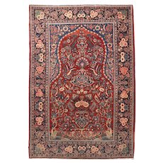 "Fine Semi Antique Vintage Kashan Persian Rug, Hand Knotted, Circa 1930's, Size 4'4"" x 6'6"""