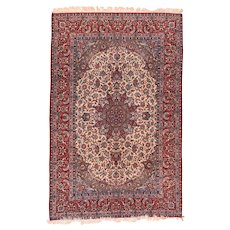 Antique Ivory field Isfahan Persain Area Rug Wool Circa 1920, SIZE: 9'10'' x 6'7''