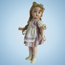Pigtail 23 Inch Composition Doll in Paisley Apron Dress, Original