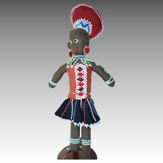 South African Beaded Felt Doll 14 Inch Lady and Baby-Red Cross Society