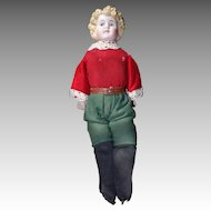 Boy 10 Inch Doll with Molded Blond Hair on Kid Body,German Bisque - Kling