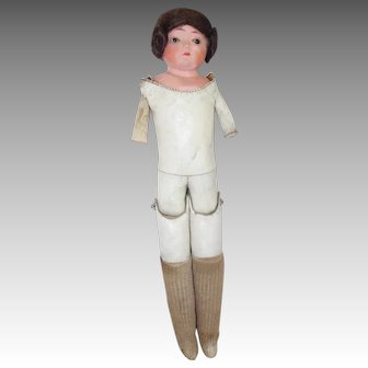 Papier-Mache Head Glass-Eye Doll Antique Doll For Parts- Needs Arms