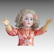 Kestner 171 Antique Bisque Head Doll, 25 In, Peach Satin Blonde