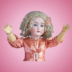 Kestner 171 Antique Bisque Head Doll, 25 In, Peach Satin Blonde