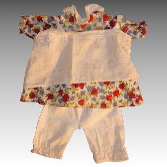 Raggedy Ann Georgene Doll Dress in Red Flower Print + Pantaloons + Apron