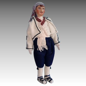 Cloth Man Doll, Painted Face 14 Inch in Eastern European Wool Outfit
