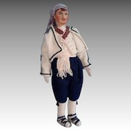 Eastern European Cloth Man Doll, Painted Face 14 Inch in Wool Outfit