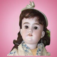 "Walkure Brunette Bisque Doll in Blue Cream 20"" BJB, Kestner"