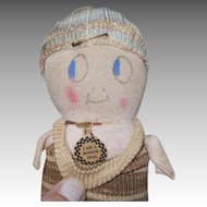 Bonser Doll, Stocking Knit Doll 1920s 8 Inches