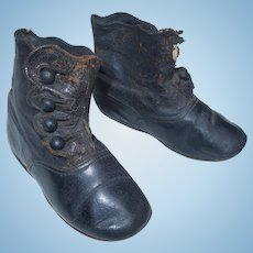 Leather Boots in Black for Large Doll, with Buttons