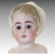 H Mark German Bisque Antique 18 In Doll, Gusseted Kid Body in Cap and Pink Dress
