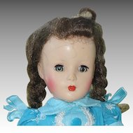 Made In USA 14 Inch Hard Plastic Doll with Braids + Aqua Dress