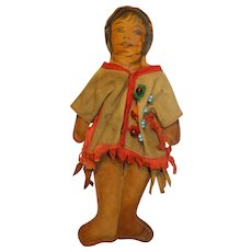 Native American Indian Doll, Pike's Peak,Suede Leather in Beaded Jacket