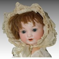 Baby Bonnet, Best & Co. Cream with Lace - Fits Doll Head 13 In HC