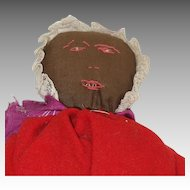 Brown Cloth Doll in Red Flannel Dress