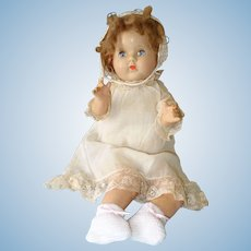 Composition Baby Doll, 19 Inch, Mohair Wig + White Gown