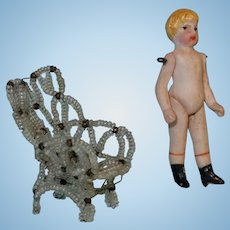 Tiny Bisque Jointed Doll with Beaded Chair