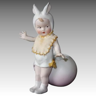 Bunny Rabbit Doll with Egg, 7 Inches, Gebruder Heubach