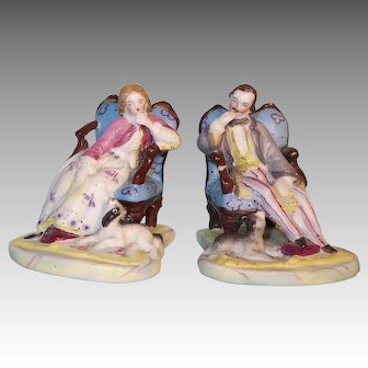 Set of Woman + Man Figurines - Letter Readers with Dogs