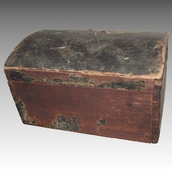 Wallpaper Covered Trunk, 12 Inch 1805 Wood Domed