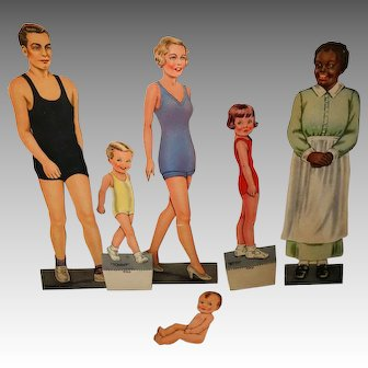 Paper Doll Family, Queen Holden 1937, Includes AA Maid