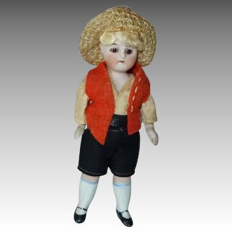 All Bisque German Boy Doll, Glass Eye, Outfit + Hat, 3 1/2 In