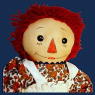 Raggedy Ann With Outlined Nose, Georgene 1930s,  18 Inches