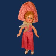 Anne Shirley Doll, 14 Inch All Composition in Calico + Gingham, Effanbee 1940s