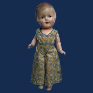 Arranbee 1930s 12 Inch Composition Nancy Doll in Print Jumpsuit