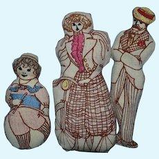 Cloth Victorian-Style Dolls, 3 Sports, 7 Inch