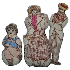 Cloth Victorian-Style Dolls, 3 Sports, 7 Inch