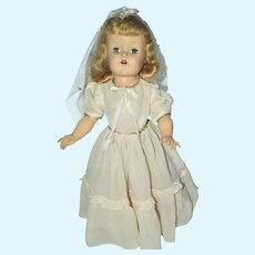 Horsman Cindy 170 15 Inch Hard Plastic Doll in Communion Gown