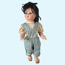 "16"" Doll Flirty Eye Italian Hard Plastic FOR PARTS in Summer Plaid, Sandals"
