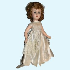 "Hard Plastic Walker Doll, 17"" in White Satin Gown"