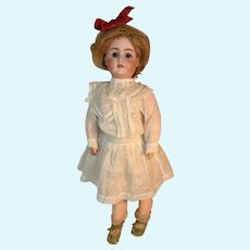 """Made In Germany 63 Bisque Head Doll, 23"""" in White Dress"""