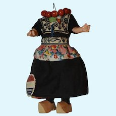 German 6.5 Inch Painted Bisque Doll on Composition Body for Parts, Dutch Outfit