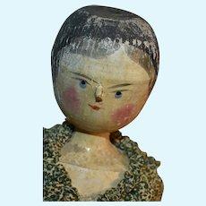 Peg Wooden Doll, Grodnertal 11 Inch in Calico Dress + Bonnet