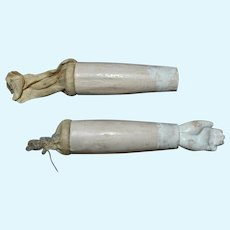 Doll Arms and Hand, 19th C Wood + Papier-Mache