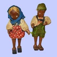"Lotte Sievers-Hahn, Wooden Jointed Doll Pair, 4 1/4"" German"