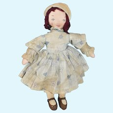 "Cloth Doll, 11"" 1940s Edith Flack Ackley Type"