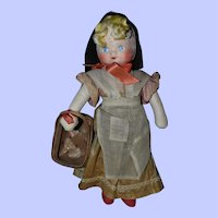 """Georgene Cloth Doll Country Girl with Basket, 15"""" Childhood Classics"""
