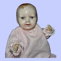 Baby Composition Doll Pre-1920 with Squeaker, Pretty Pink Dress