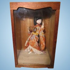 "Vintage Japanese 10"" Geisha Girl Doll In Handmade Wood Display Box"