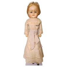"German Shoulderhead Doll Wax Over Paper Mache Composition Hands Legs Painted Socks Shoes 19"""