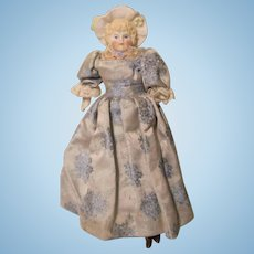 "Molded Bonnet Doll Parian Bisque 7 3/4"" W / Cloth body German"