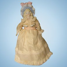 "Molded Bonnet Shoulder Head  Doll Parian Bisque 8"" W / Cloth body German"