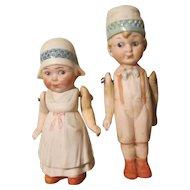 Hertwig German All Bisque Dutch Dolls Side Glancing Googly Eyes